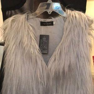 Grey Faux Fur Vest